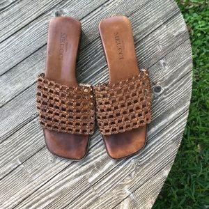 Sesto Meucci SZ7.5 Brown Leather Slide On Sandals
